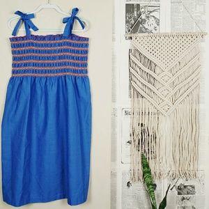 Vintage Sears Blue Tie Strap Elastic Market Dress